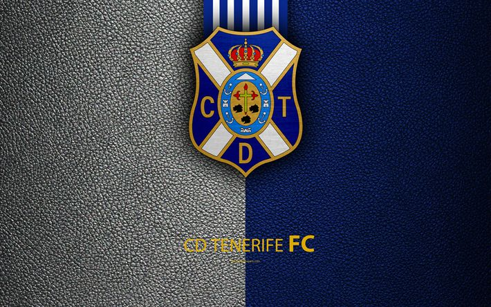 Download wallpapers CD Tenerife FC, 4K, Spanish Football Club, leather texture, Tenerife logo, LaLiga2, Segunda Division, Santa Cruz de Tenerife, Spain, Second Division, football