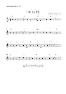Ode To Joy, free alto saxophone sheet music notes