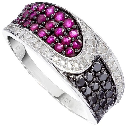 Sterling Silver Natural Ruby  White  Black Diamond Ring only $208 - purejewels.com.au
