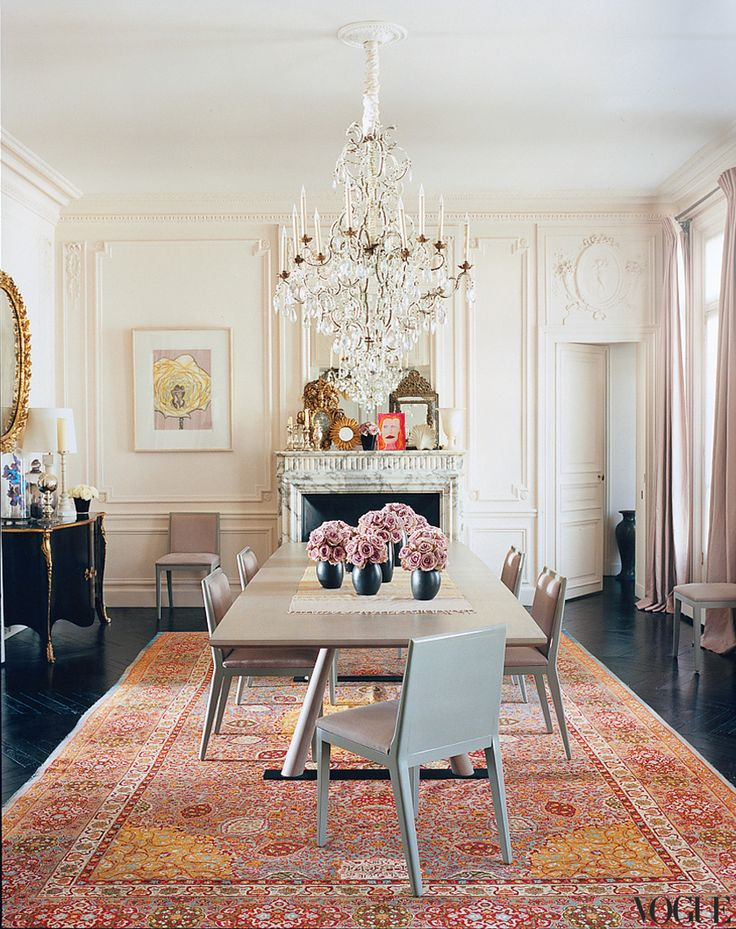 L'Wren Scott's Parisian Apartment // via Vogue - Custom Christophe Delcourt table and gray lacquered chairs command the dining room.Dining Rooms, L Wren Scott, L'Wren Scott, Paris Apartments, Interiors, Inspiration Boards, Diningroom, Oriental Rugs, Mick Jagger