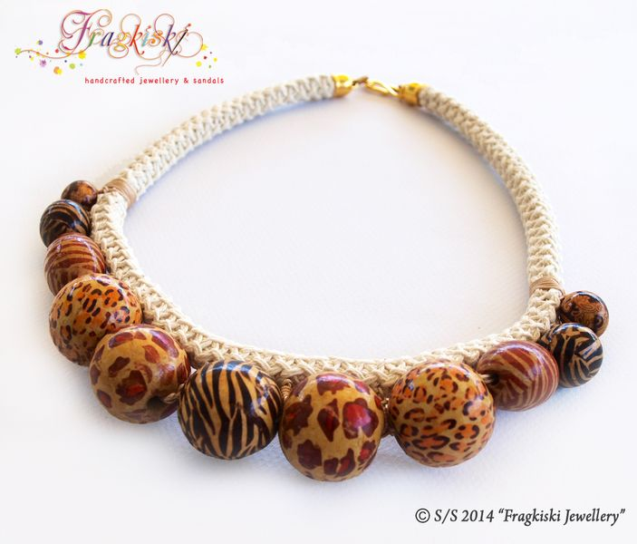 Wooden Beads & Rope Necklace from Fragkiski Jewellery & Sandals by DaWanda.com