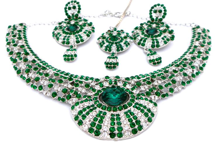 Indian Jewelry Silver Polished Emerald Green + White Austrian Crystals Choker Necklace Set with Earrings Mang Tikka by Nostalgicpearls on Etsy
