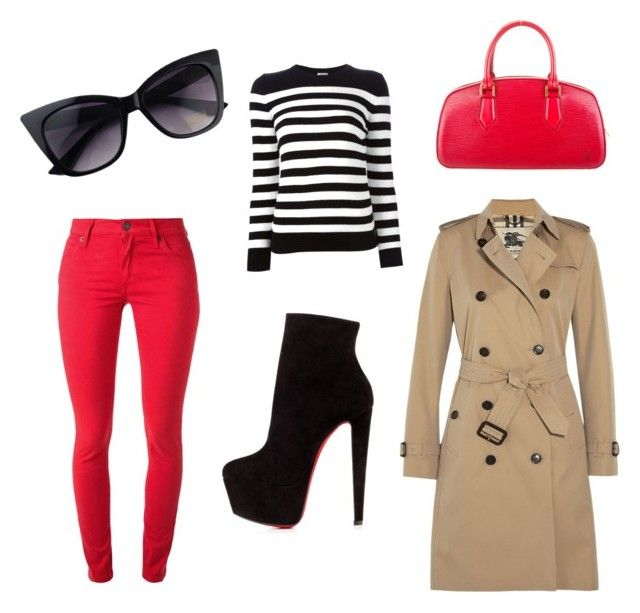 Stripes & red by ouanda on Polyvore featuring polyvore, fashion, style, Yves Saint Laurent, Burberry, Christian Louboutin, Louis Vuitton and clothing