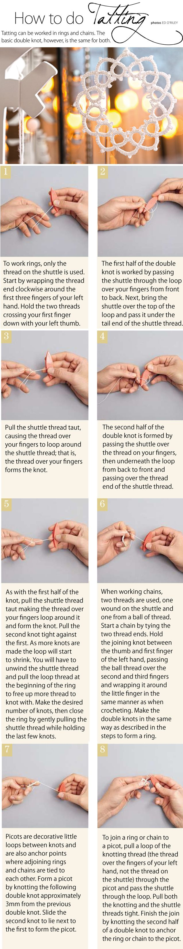 How to do tatting - shuttle tatting that is.  I know, it's on a needle tatting board.