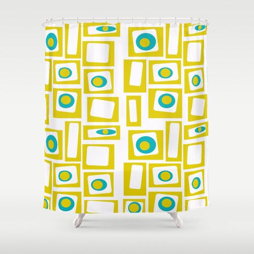 Modern Shower Curtain,Yellow Shower Curtain, Retro Shower Curtain The fun doesnt have to stop at the bathroom door. This modern shower curtain will make your bathroom smile. All modern sower curtains are print and sewn at the time of the order, allow 7-10 days for shipping 71 x 71. Made of 100% polyester w/ 12 stitched button holes for hanging, rings & liner not included. See over 100 more modern shower curtains here: http://etsy.me/1YUHKp8