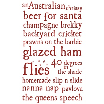 Australian Christmas tea towel: sums up an authentic aussie Christmas day for us!!