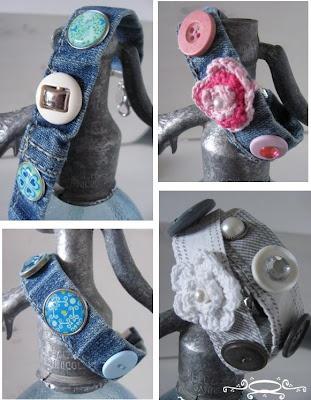 Armbanden voor kids en volwassenen gemaakt o.a.van kleding.