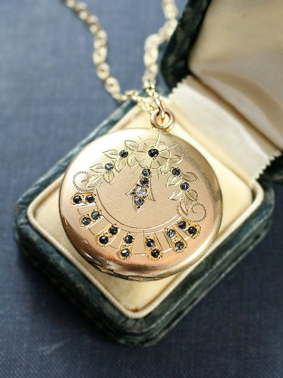 detailmain engraved round locket lockets yellow gold phab in lrg nile petite floral blue main