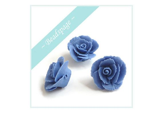 10 Porcelain Rose Blue Beads Jewelry Handicraft Deco by BEADSPAGE