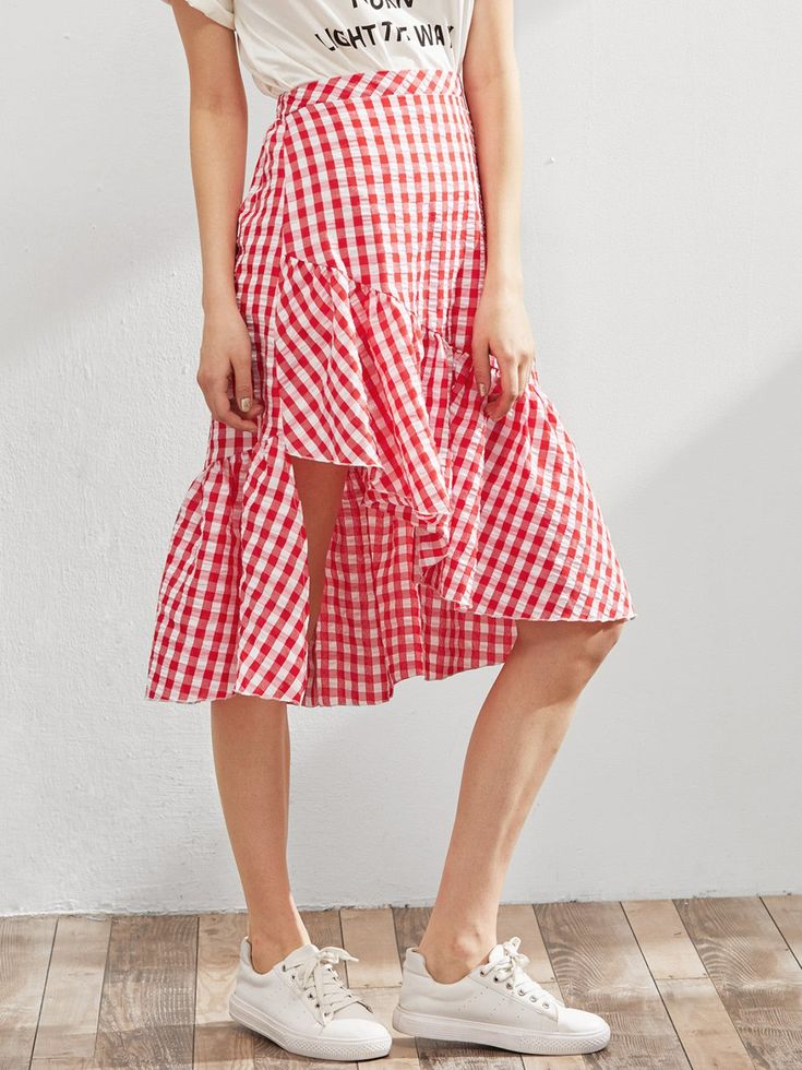 Shift Knee Length Skirts Decorated with Asymmetrical, Ruffle Hem. Mid Waist. Gingham design. Trend of Spring-2018, Summer-2018. Designed in Red. Fabric has no stretch.