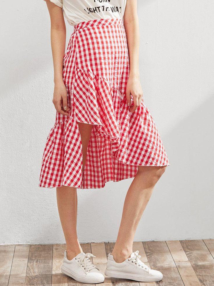 Skirts by BORNTOWEAR. Elastic Waist Gingham Asymmetric Frill Skirt