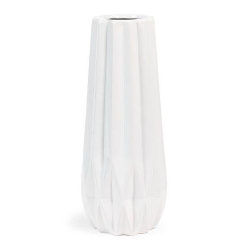 Vase Losange en porcelaine blanc H 36 cm