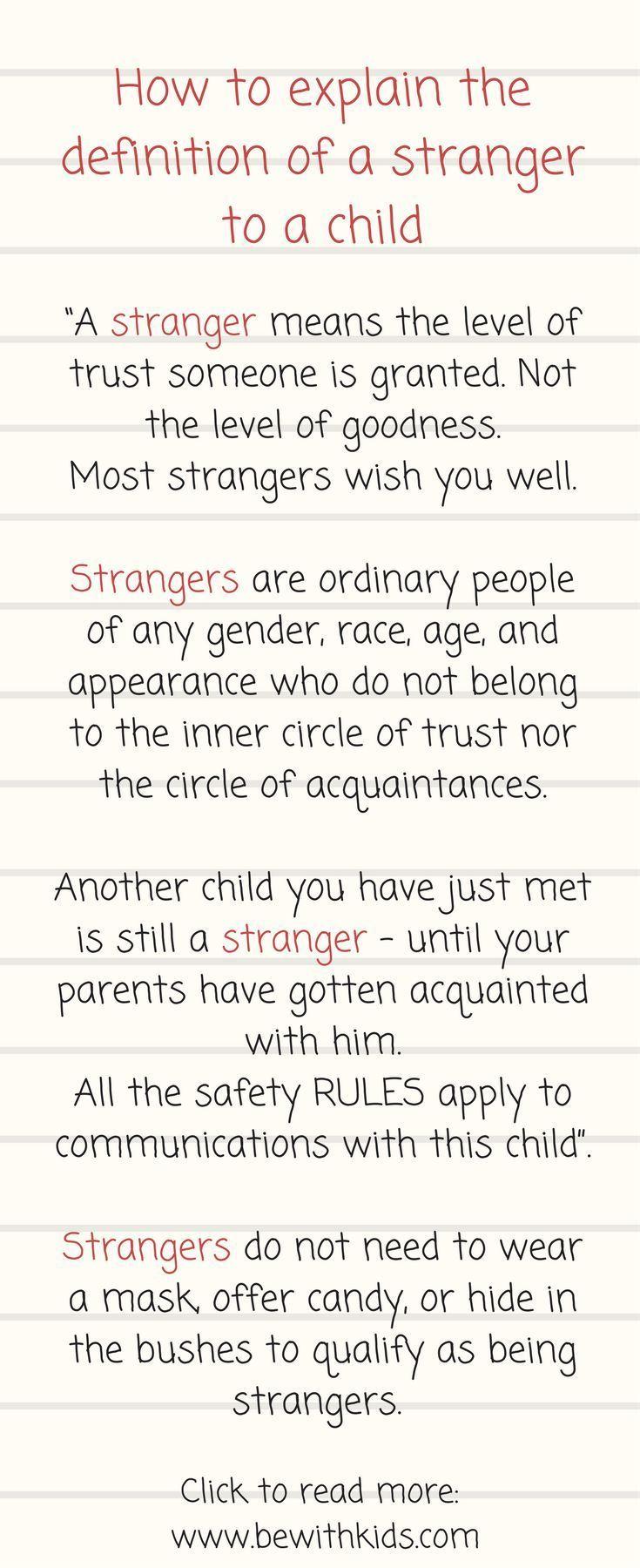 stranger danger: how to explain a definition of stranger to your