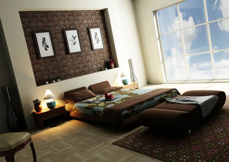 Modern Loft Bedroom Design With Brown Sofa And Lounge Also Wooden Floor Carpet