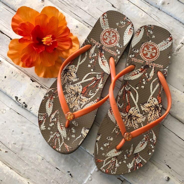 Tory Burch Shoes | Floral Tory Burch Beach Sandals | Color: Orange/Tan | Size: 8