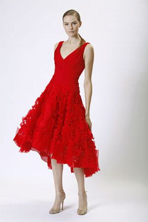 Monique Lhuillier Red Feathered Dress