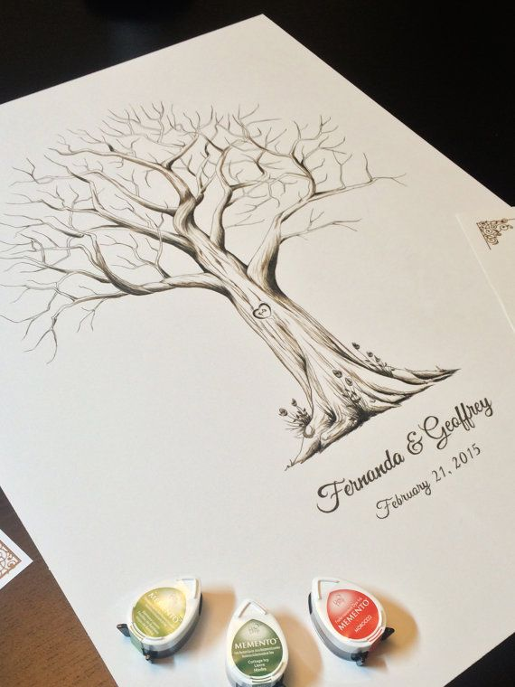 Fingerprint Tree custom wedding guestbook - Original thumbprint guest book alternative (Medium Size Monochrome) includes 2 ink pads!!