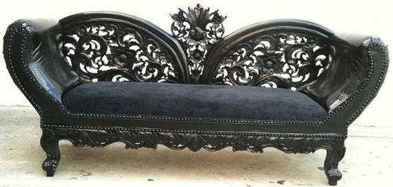 Black on Black Wooded Frame French Chaise by VENETIANSOCIETY