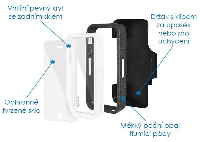 Odolný kryt na iPhone 5, 5s a SE - Amzer CRUSTA černá  bílá + tvrzené ochranné sklo AMZ300081