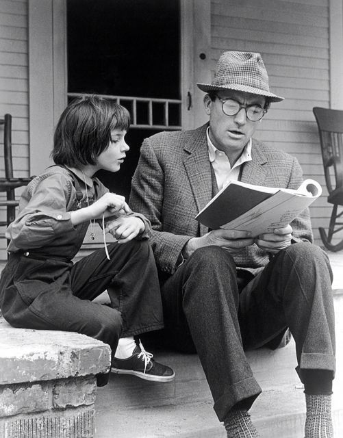 Gregory Peck and Mary Badham in To Kill a Mockingbird (1963).  Peck won an Oscar for his truly outstanding performance.
