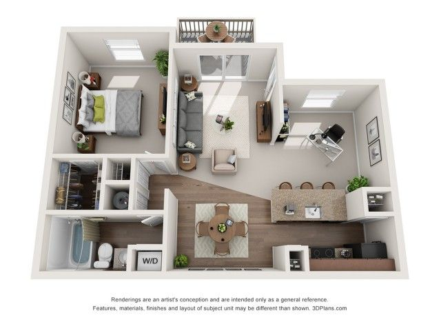 Echo 1 Bed 1 Bath Platinum 726 Sq Ft Apartment Layout Small House Design Studio Apartment Floor Plans