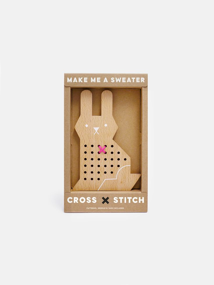 This cute rabbit needs a sweater! Can you help? Cross stitching is a super fun craft activity for kids. Help make sweaters & outfits for animal friends with your cross stitching skills. This craft kit comes with 100% wool yarn in two tones, a safe plastic needle & a play booklet with tutorial + patterns. X X it's a stitch up! X X Rabbit 6.1 inch tall Solid Beech Wood