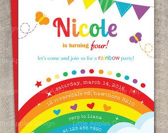 Arco iris invitación / invitación de cumpleaños del arco iris