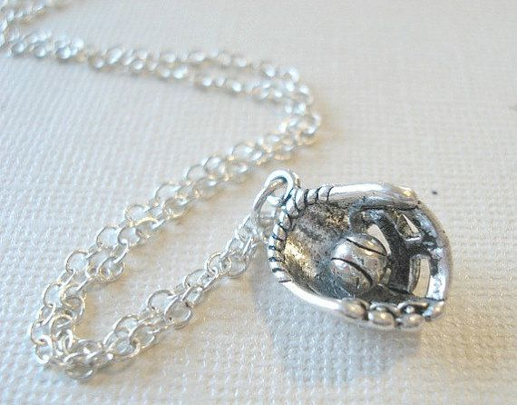 Baseball Necklace Silver Baseball Mit Glove and Ball Silver Necklace Jewelry Pendant Go Dodgers on Etsy, $17.75