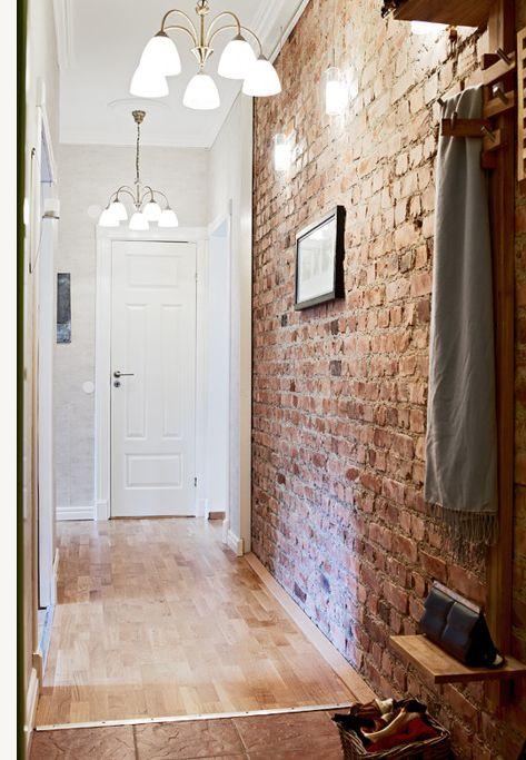 exposed brick in the hallway
