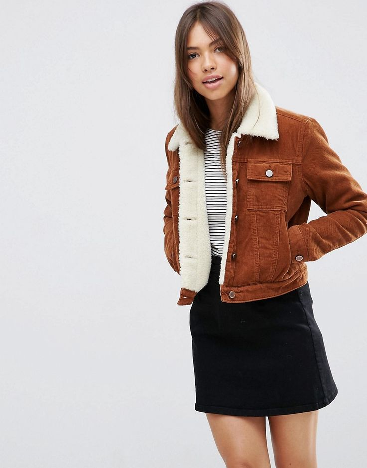 Image 1 of ASOS Cord Cropped Jacket with Borg in Rust