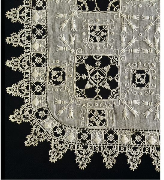 Handkerchie Place of Origin: Italy (made), Date: ca. 1600 (made), Linen, with cutwork, needle lace and embroidery