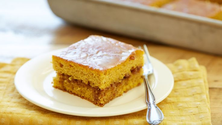 """""""Honey Bun"""" cake, so named because its flavor is reminiscent of a sweet roll, gets a fall makeover by adding pumpkin."""