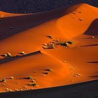 Rode zandduinen van de Sossusvlei / Sossus Vlei in de Namib woestijn bij zonsondergang, Namibi�