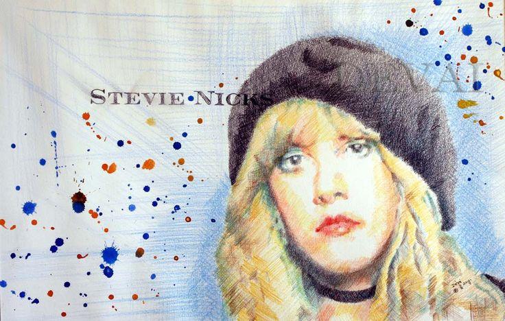 Grafik: Alex Devai Color Pencil, aquarell Stevie Nicks