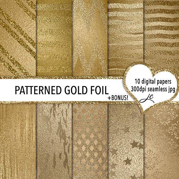 Patterned Gold Foil Digital Papers  BONUS Photoshop Pattern