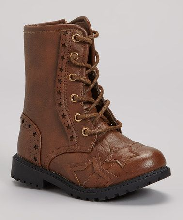 Take a look at this Cognac Combat Boot by VeeVee on #zulily today!