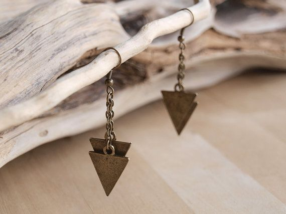 Gold Geometric Triangle Earrings Modern by AtticRoomStudio on Etsy