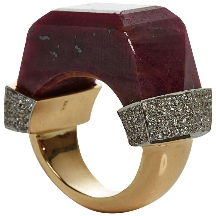 Jade Jagger NeverEnding Ruby Quartz Diamond Pave Ring For Sale