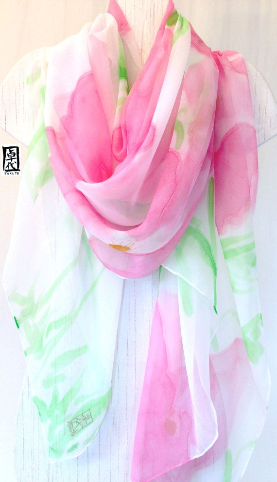 Hey, I found this really awesome Etsy listing at https://www.etsy.com/listing/185213180/hand-painted-silk-scarf-spring-scarf