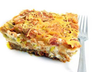 Skinny Lasagna`Ole...This super delicious Mexican layered casserole is both hearty and healthy. Each serving has 239 calories, 3g fat & 6 Weight Watchers POINTS PLUS. http://www.skinnykitchen.com/recipes/skinny-lasagna-ole/