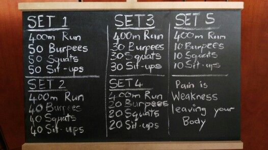 Warm up with a 400m run, this workout will really test your endurance. 1 min rest between sets.
