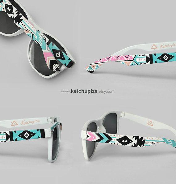 Sunglasses - Aztec print Tribal trend fashion sunglasses unique hand painted - pastel pink mint natural black