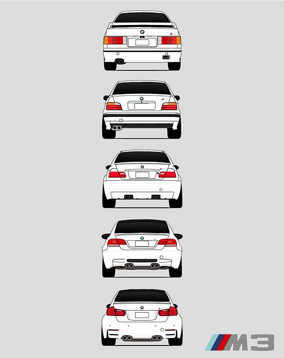 Bmw M3 Poster Print Wall Art Of The History And Evolution Of The M3 Generations Rear View Bmw Car Models E30 E36 E46 E92 F80 G80 Ax1 Bmw M3 Bmw E30