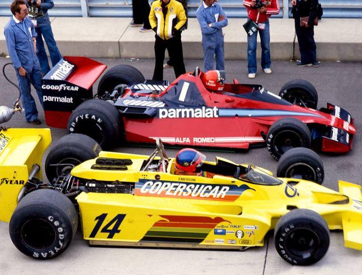 Niki Lauda (Brabham-Alfa Romeo) & Emerson Fittipaldi (Fittipaldi-Ford) Grand Prix des USA - Watkins Glen 1978 -  F1 History & Legends.