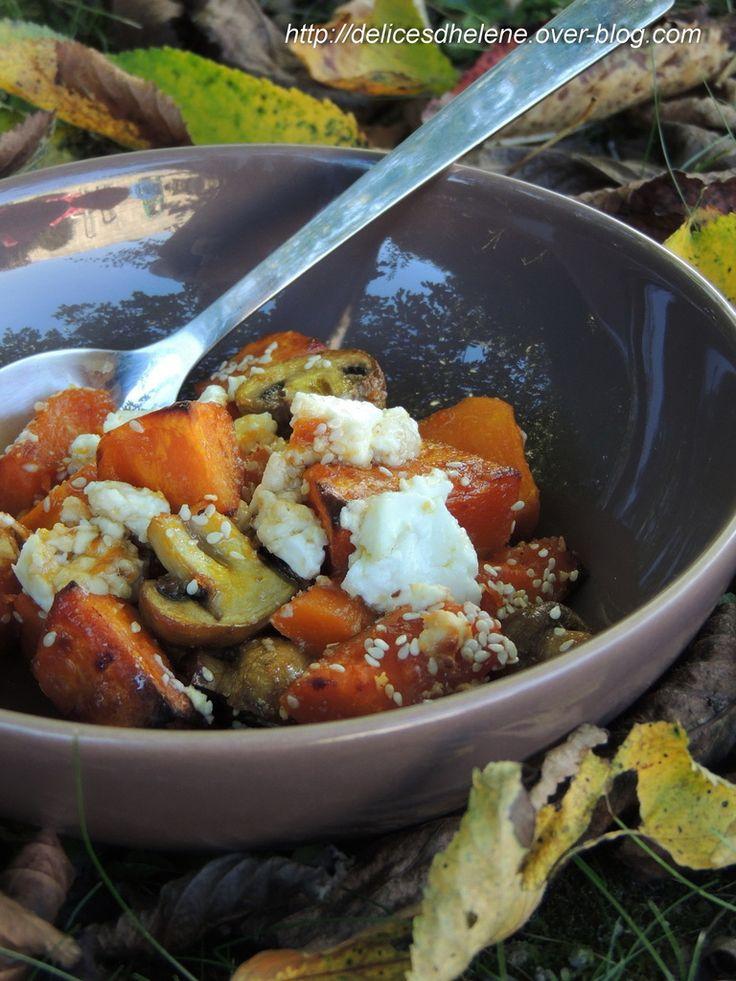 Potimarron rôti, feta et miel