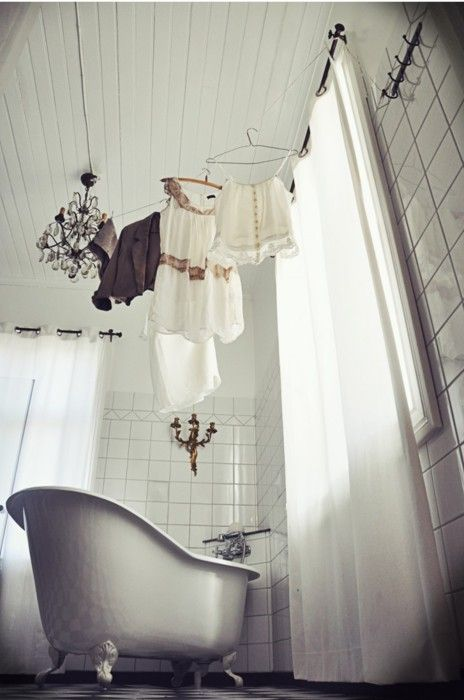 pretty clothes drying in bathroom