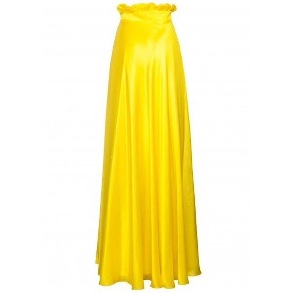 Silk modal yellow high waist long skirt (SKSS1610B) ($550) ❤ liked on Polyvore featuring skirts, ankle length skirt, long skirts, maxi skirt, floor length skirts and long silk skirt