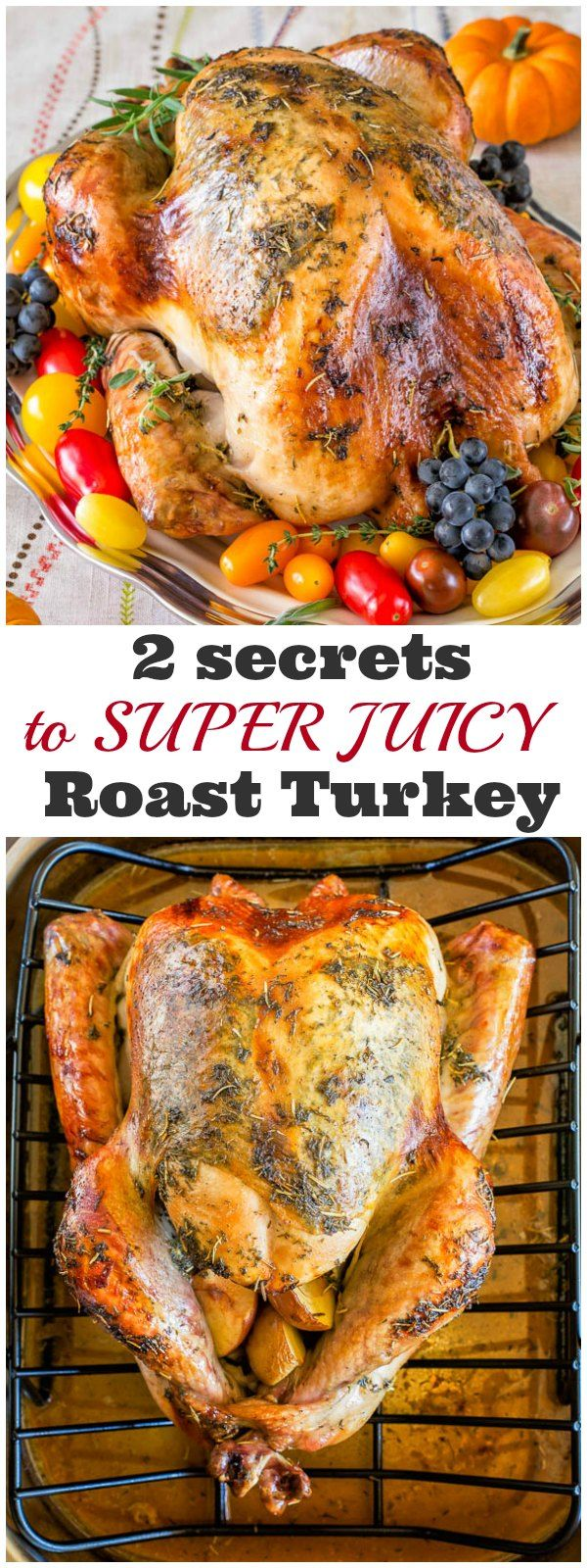 Sharing my secret to super juicy no brine roast turkey recipe that will make you a hero of your Thanksgiving dinner. It involves a bottle of champagne and melted butter! Seriously, unless you want to, you really don't have to brine your bird any more. #Thanksgiving #ThanksgivingMenu #ThanksgivingRecipes #RoastTurkey #howtoroastawholeturkey #wholeturkey