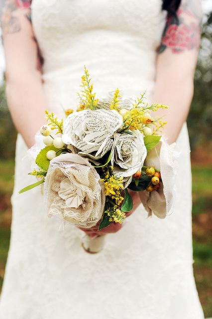 Bouquet with paper flowers.... burlap... and lace