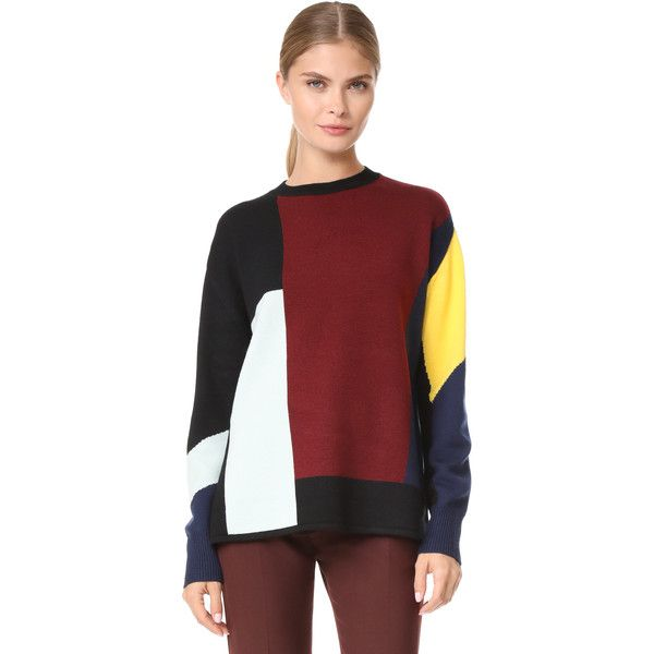 Victoria Victoria Beckham Patchwork Sweater (2,400 SAR) ❤ liked on Polyvore featuring tops, sweaters, navy, navy blue sweater, red oversized sweater, over sized sweaters, navy sweater and navy top